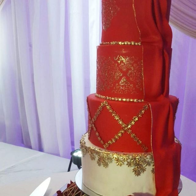 elegantoccasionsbysg a cake designed to match the brides outfit!