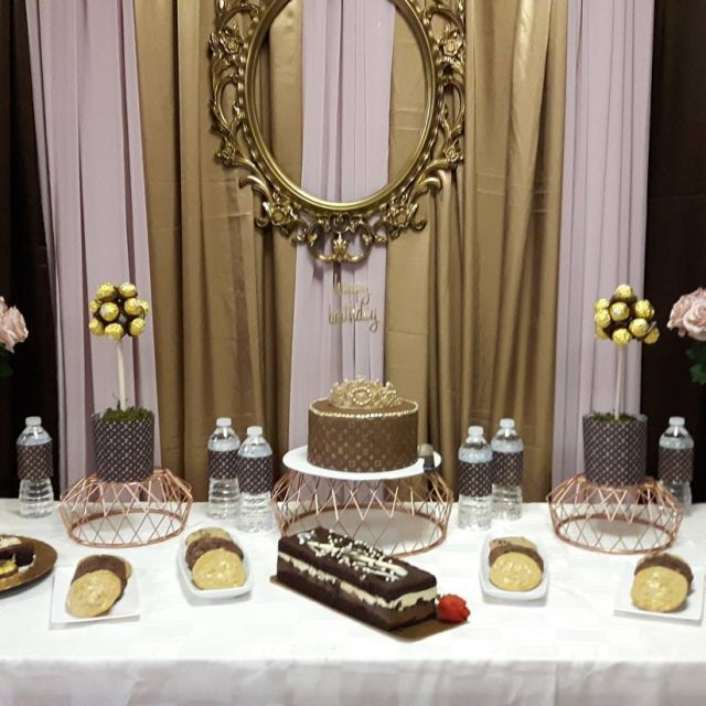 Louis Vuitton themed birthday dessert table Cake by the lovelyhellip