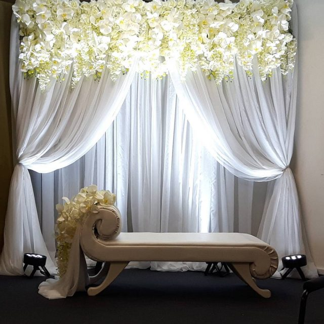 Our gorgeous simple and elegant orchid crown backdrop!