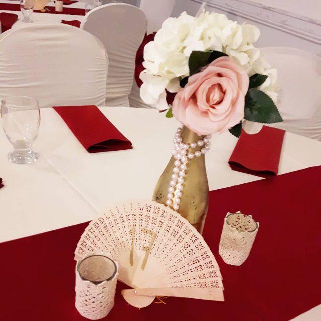 Ended 2017 with a beautiful burgundy and ivory wedding setuphellip