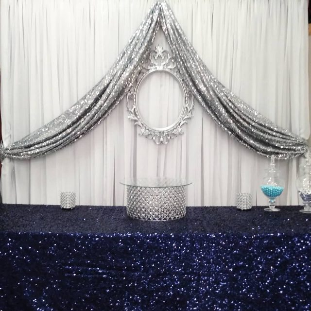 Dessert table basic backdrop featuring our new silver crystal cakehellip